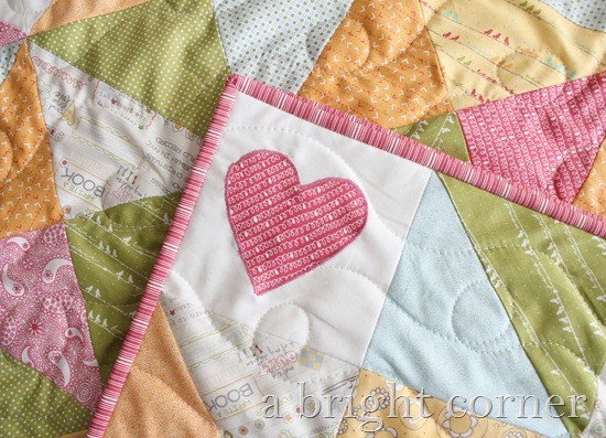 Sweet Talk quilt with cute heart applique