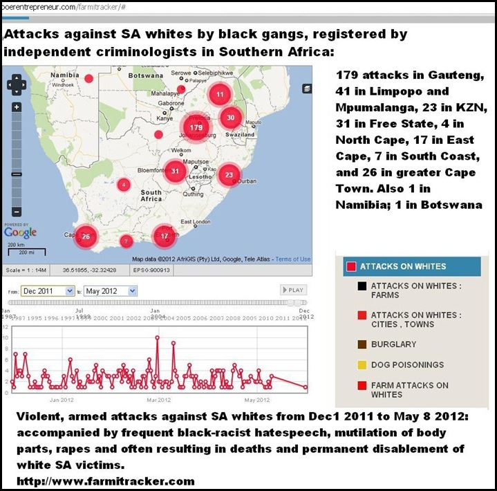 ATTACKS ON WHITES TOWNS AND FARMS DEC2011 TO MAY92012