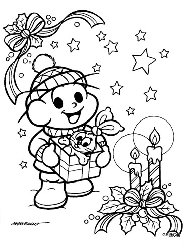 Cebolinha e Sansão- presente-natal,desenho para imprimir e colorir natal,