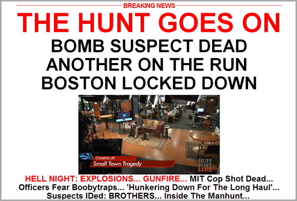 The home page of The Huffington Post from Friday afternoon, April 19, 2013.