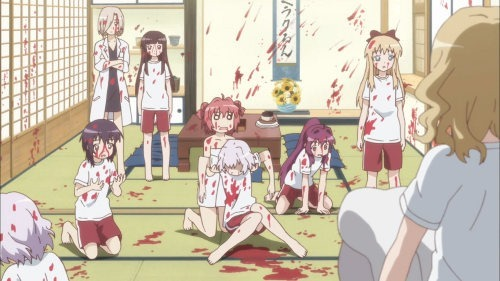A scene showing a large chunk of the cast in the midst of a catastrophe with blood everywhere, due to Chitose going berserk