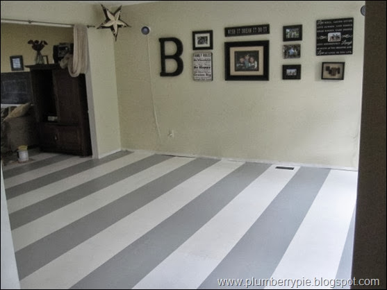 gray and white striped playroom floors {plumberry pie}