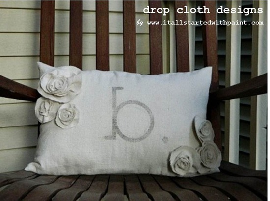 Monogrammed Drop Cloth Rosette Pillow Lumbar