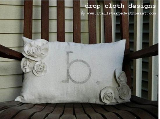 Monogrammed Drop Cloth Rosette Pillow Lumbar