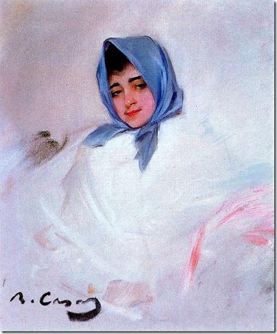 ramon casas i carbo_Joven con pañuelo azul (1903)