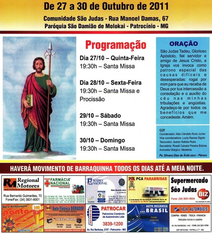 Festa em louvor a São Judas Tadeu - Paróquia São Damião de  Molokai - Patrocínio-MG de 27 a 30 de outubro de 2011 - CARTAZ