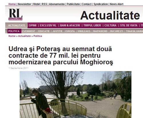 Udrea şi Poteraş au semnat două contracte de 77 mil_ lei pentru modernizarea parcului Moghioroş I Romania Libera_26_09_2011940