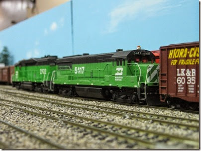 IMG_5449 Burlington Northern U25B #5417 on the LK&R HO-Scale Layout at the WGH Show in Portland, OR on February 17, 2007