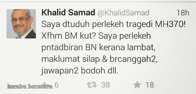 #pray4mh370: Reaksi Khalid Samad