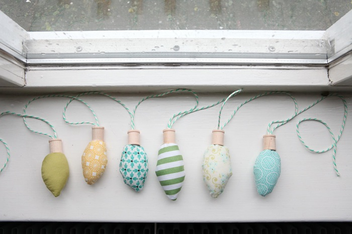 retro fabric christmas light bulbs