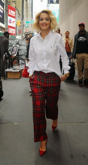 Rita-Oras-MTV-Studios-J.W.-Anderson-for-Topshop-Embroidered-Cotton-Shirt-and-Red-Tartan-Plaid-Pants