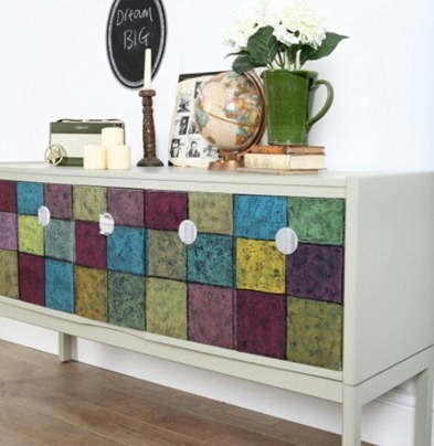 multi colored sideboard