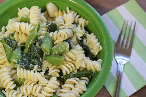 snap pea and spinach pasta