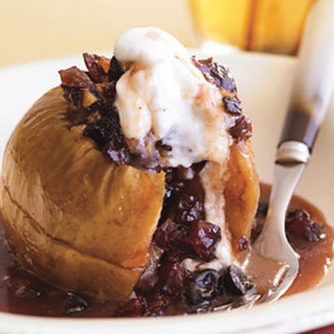 Baked Apples with Mincemeat, Cherries, and Walnuts