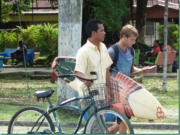 surfboard bike pedestrians Bocas town