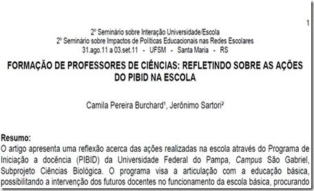FORMAÇÃO DE PROFESSORES DE CIÊNCIAS-REFLETINDO SOBRE AS AÇÕES DO PIBID NA ESCOLA