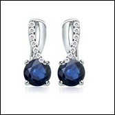 Round Sapphire and Round Diamond Fashion Earrings