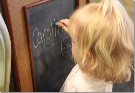 caroline is not really writing her name