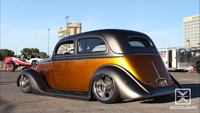 Graveyard Restorations and Custom Cars&#039;s 35 Ford Slant Window equipped with AccuAir e-Level. Photo by Andrew Farris.