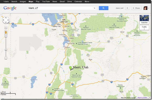 Manti, Utah from GoogleMaps.com