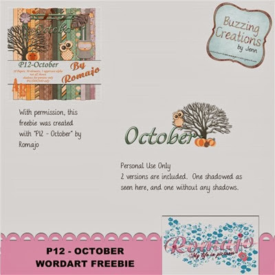 Romajo - P12October - Wordart Freebie Preview