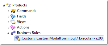 SQL business rule processing custom action for Products controller in Code On Time Project Explorer.