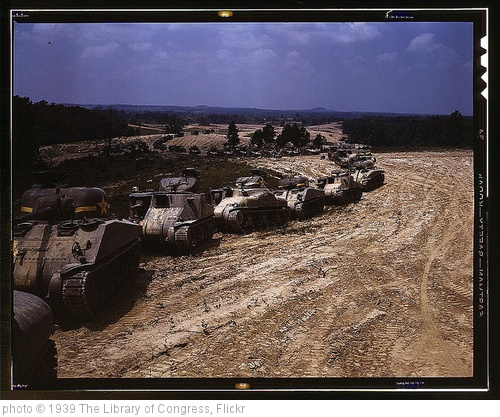 'Parade of M-4 (General Sherman) and M-3 (General Grant) tanks in training maneuvers, Ft. Knox, Ky. Note the lower design of the M-4, the larger gun in the turret and the two hatches in front of the turret  (LOC)' photo (c) 1939, The Library of Congress - license: http://www.flickr.com/commons/usage/