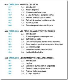 """Índice del Libro """"Cómo jugar al pádel"""" 2014"""