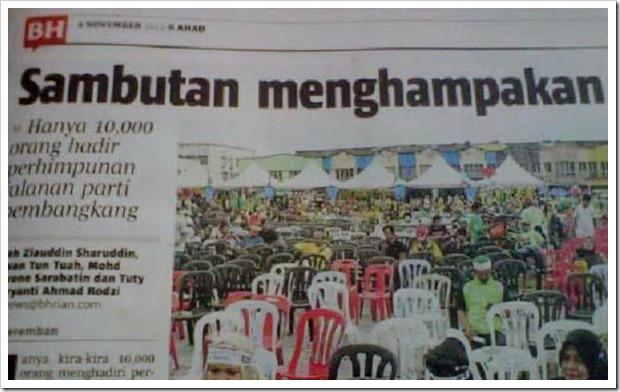 keratan akhbar berita harian himpunan kebangkitan rakyat menghampakan