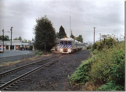 Lewis & Clark Explorer passing the depot at St. Helens, Oregon, on October 1, 2005