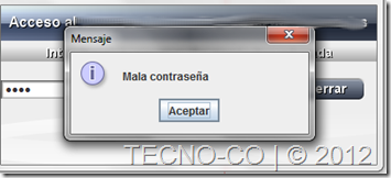 login incorrecto java