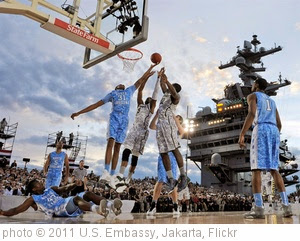 'Carrier Classic NCAA college basketball game on Friday night.' photo (c) 2011, U.S. Embassy, Jakarta - license: https://creativecommons.org/licenses/by-nd/2.0/