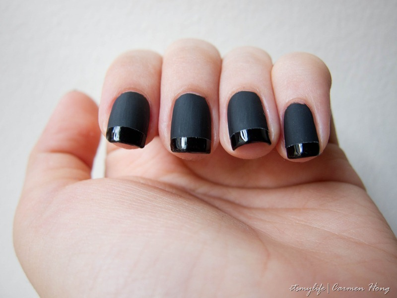Nail Art: Matte Black with Glossy French Tip | It\'s my life.
