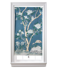 Want to create your own view? Attach a beautiful wallpaper sheet to a roller shade. (Martha Stewart Living)