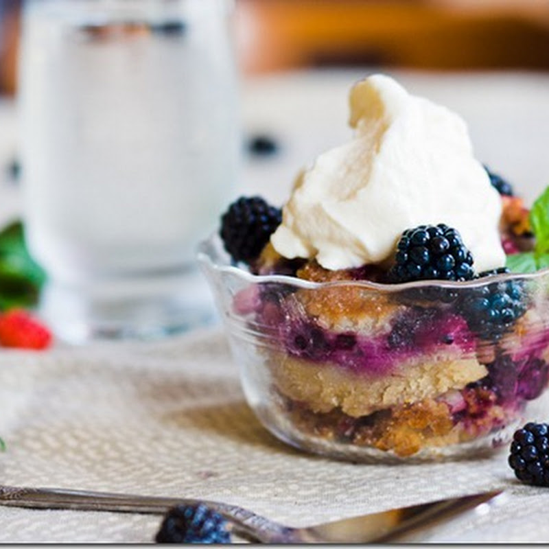 Blackberry cobbler with maple whipped cream