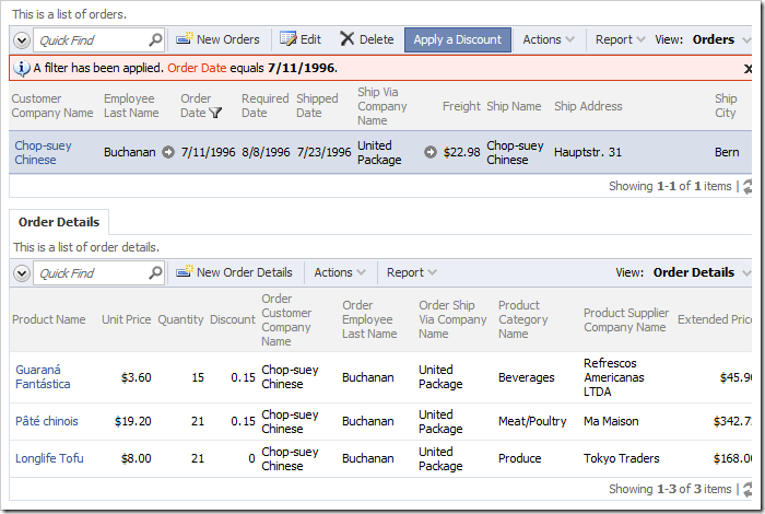 Selecting an order from the list will reveal a list of order details related to the order.