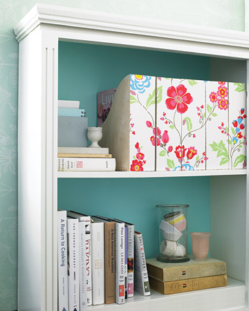 Swap the utilitarian look and feel of her office magazine organizers for something more artful using a decorative paper. (marthastewart.com)