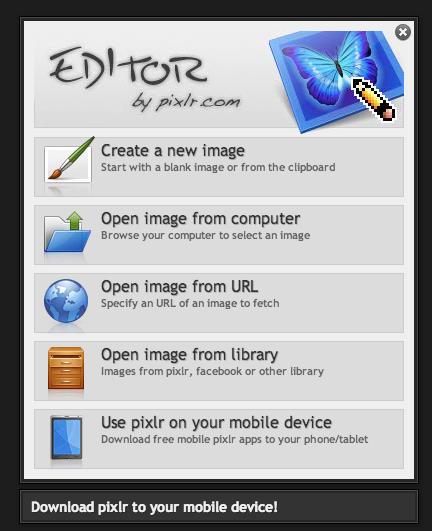 Pixlr screen