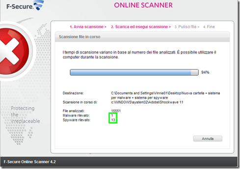 F-Secure Online Scanner Scarica ed esegui scansione