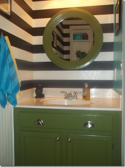 friday feature--powder room with bold striped walls from designed to the nines blog