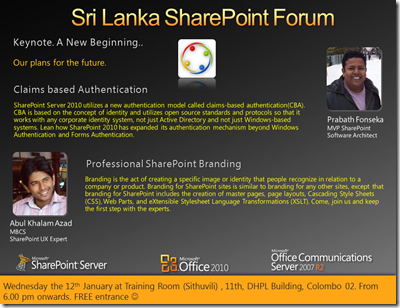 01 - SriLankaSharePointForum - 12th January 2011