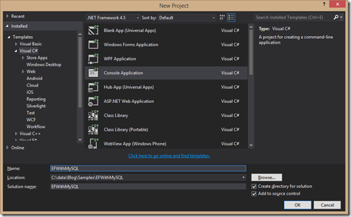 console-application-for-entityframework-mysql