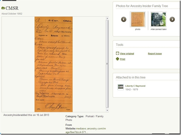 Shoebox from Ancestry automatically associates and uploads an image to an ancestor in a Member Tree