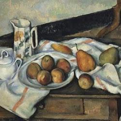 Paul Cezanne (Aprox. 1890):Azucarero, cafetera y plato con fruta.  Museo Pushkin de Bellas Artes de Moscú. Moscú. Postimpresionismo