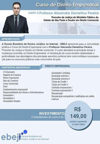 Curso de Direito Empresarial - Prof. Alexandre Demetrius Pereira