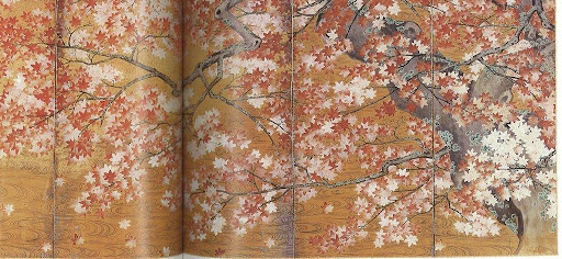 Japanese screen painted with maples.