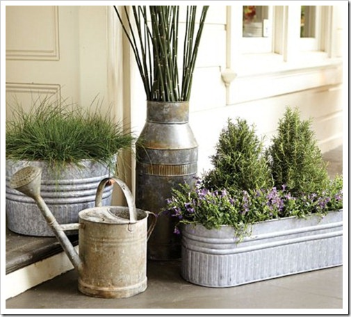 Ecletic Galvanized Planters