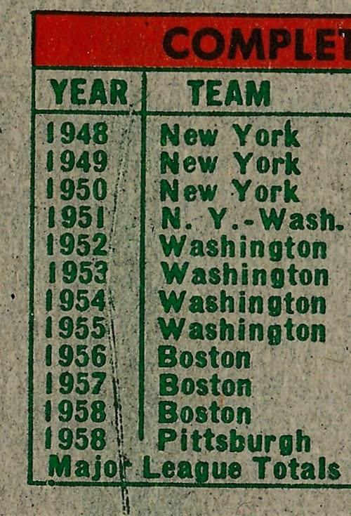 1959 Topps 181 Bob Porterfield back variation