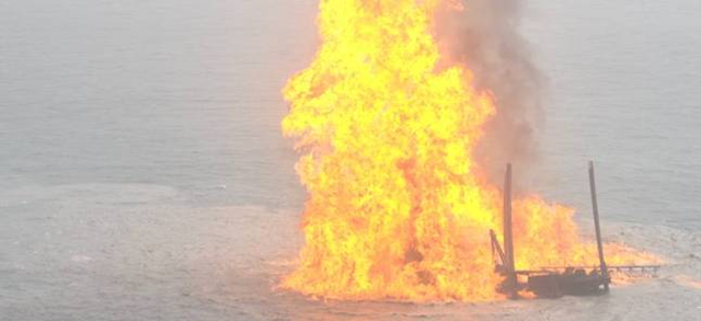 Disaster site: The KS Endeavor rig, pictured here ablaze following the January 2012 blowout. upstreamonline.com