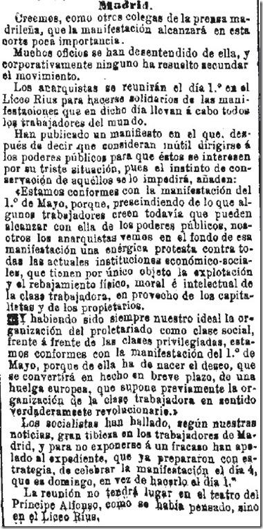 1890-04-30 - La Iberia - 01 (Preparativos del 1º de Mayo - Madrid)